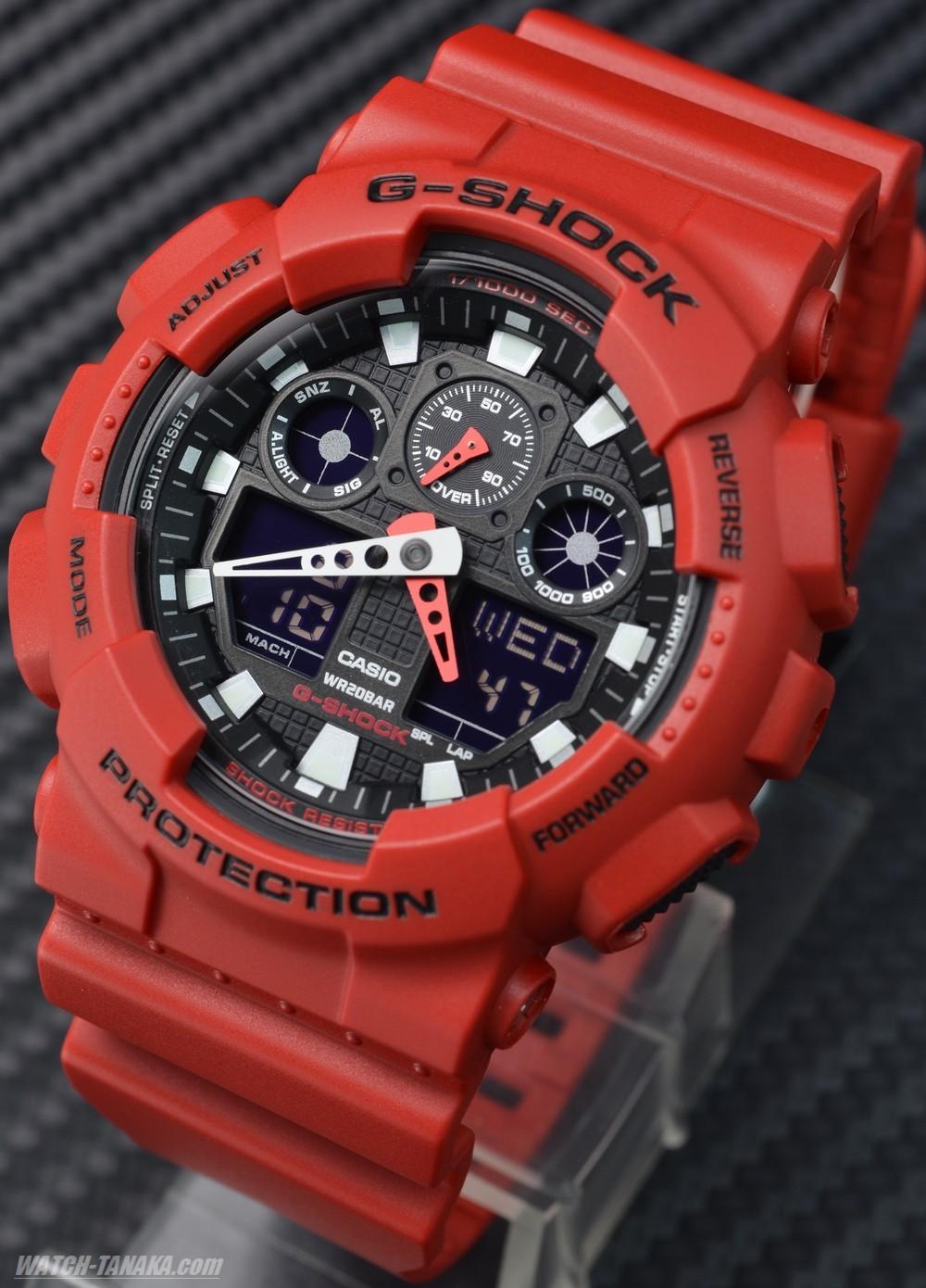 ... Casio G-Shock Red Analog Digital Watch GA-100B-4A GA100B ...